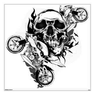 Skull and Motorbikes Graphic Wall Decal