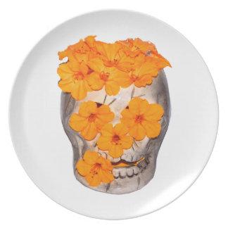 Skull and Orange Flowers Dinner Plate