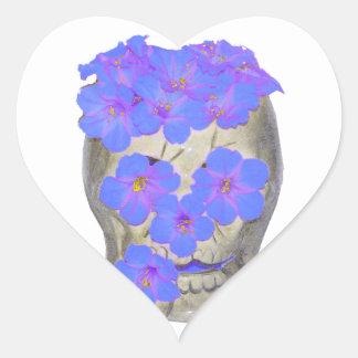Skull and Pastel Flowers Heart Sticker