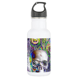 Skull and Peacock Feathers 18oz Water Bottle