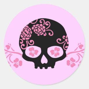 Pink flower skull stickers zazzle skull and pink flower pattern classic round sticker mightylinksfo