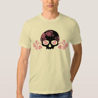 Skull and Pink Flower Pattern T Shirt