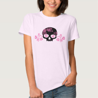 Skull and Pink Flower Pattern T-shirt