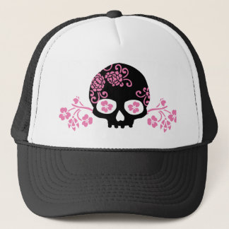 Skull and Pink Flower Pattern Trucker Hat