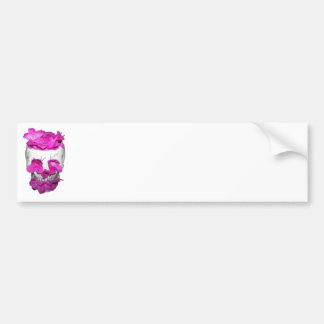 Skull and Pink Flowers Bumper Sticker