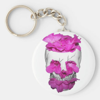 Skull and Pink Flowers Keychain