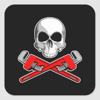 Skull and Pipe Wrenches Square Sticker