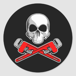 Skull and Pipe Wrenches Round Sticker