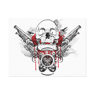 Skull and Pirate Pistols Vector Graphic Canvas Print