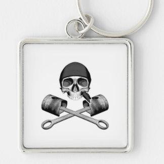 Skull and Pistons Keychain