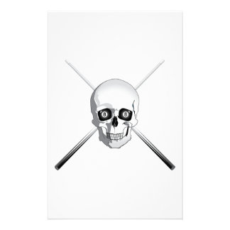 Skull and Pool Cues Stationery