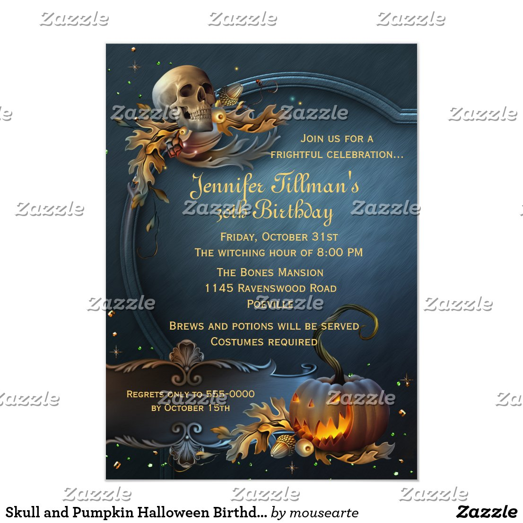 Skull and Pumpkin Halloween Birthday Party Card