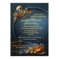 Skull and Pumpkin Halloween Birthday Party Card