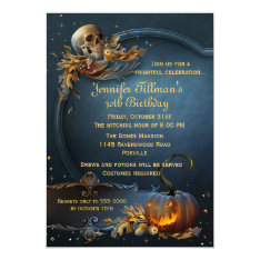 Skull And Pumpkin Halloween Birthday Party Card at Zazzle