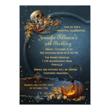 Halloween Themed Skull and Pumpkin Halloween Birthday Party Card