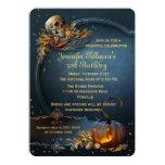 Skull and Pumpkin Halloween Birthday Party 5x7 Paper Invitation Card