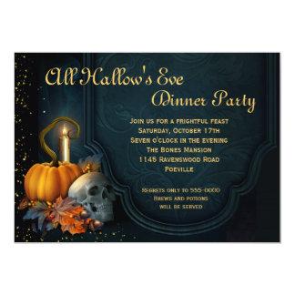Skull and Pumpkin Halloween Dinner Party Card