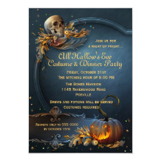 Skull And Pumpkin Halloween Party Card at Zazzle
