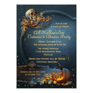 Skull and Pumpkin Halloween Party 5x7 Paper Invitation Card