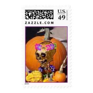 Skull and Pumpkin Halloween Stamp
