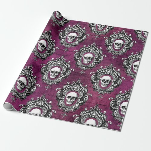 Skull and Purple Gothic Wrapping Paper