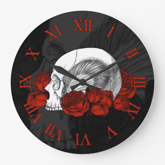 Skull And Red Roses Large Clock
