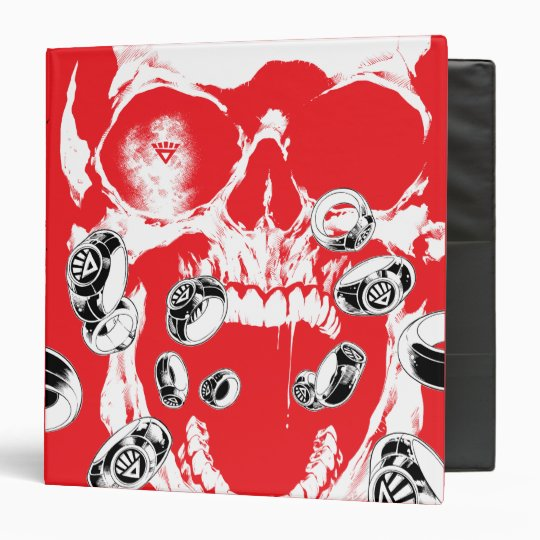 Skull and Rings - Red 3 Ring Binder