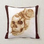 Skull and Rose Pillow