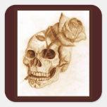 Skull and Rose Square Sticker