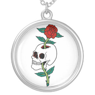 Skull and Rose Tattoo Style Necklace