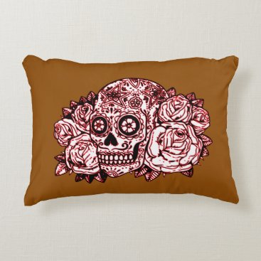 Halloween Themed Skull and Roses Accent Pillow