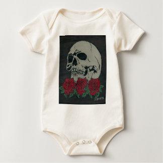 skull and roses baby bodysuit
