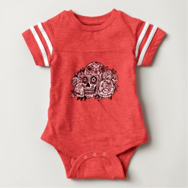 Halloween Themed Skull and Roses Baby Bodysuit