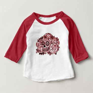 Halloween Themed Skull and Roses Baby T-Shirt