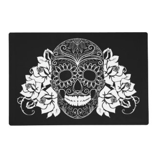 Skull And Roses, Black And White Day Of The Dead Placemat
