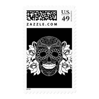 Skull And Roses, Black And White Day Of The Dead Postage Stamp