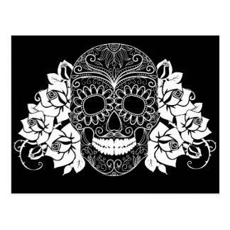 Skull And Roses, Black And White Day Of The Dead Postcard