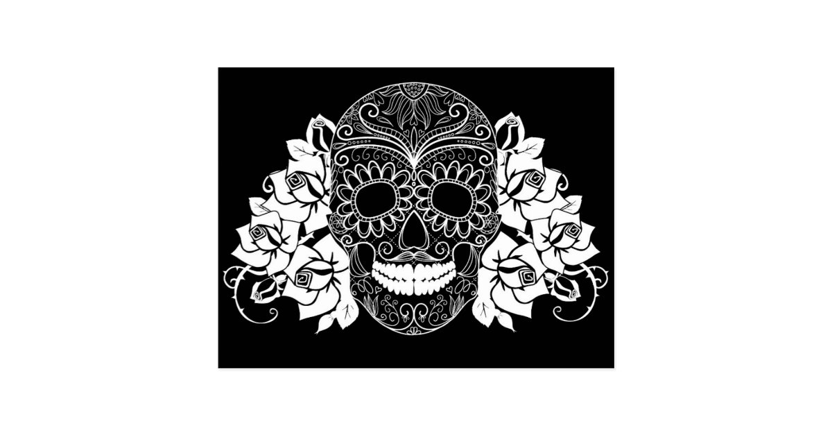 Skull And Roses Black And White Day Of The Dead Postcard