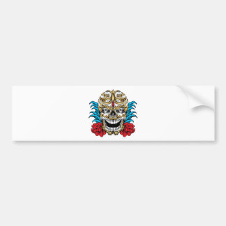 SKULL AND ROSES by THE ART DUMP Bumper Sticker