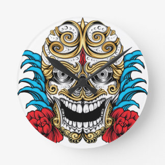 SKULL AND ROSES by THE ART DUMP Round Clocks