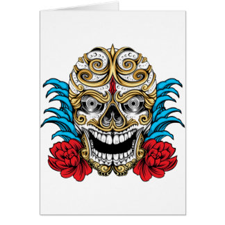 SKULL AND ROSES by THE ART DUMP Greeting Card