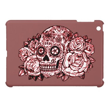 Halloween Themed Skull and Roses Case For The iPad Mini