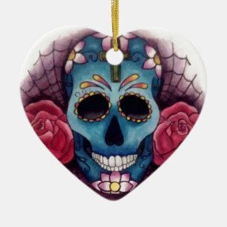 skull and roses ceramic ornament