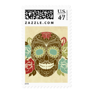 Skull And Roses, Colorful Day Of The Dead Card 2 Postage