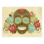 Skull And Roses, Colorful Day Of The Dead Card 2 Postcard