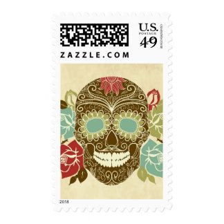 Skull And Roses, Colorful Day Of The Dead Card 2 Stamps
