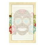 Skull And Roses, Colorful Day Of The Dead Card 2 Stationery