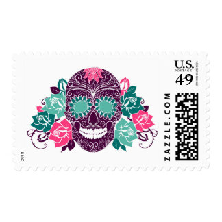 Skull And Roses, Colorful Day Of The Dead Card 3 Postage Stamp