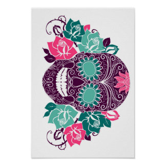 Skull And Roses, Colorful Day Of The Dead Card 3 Poster