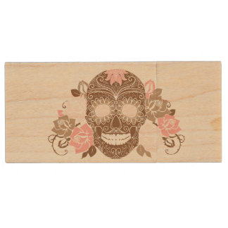 Skull And Roses, Colorful Day Of The Dead Card Wood USB Flash Drive